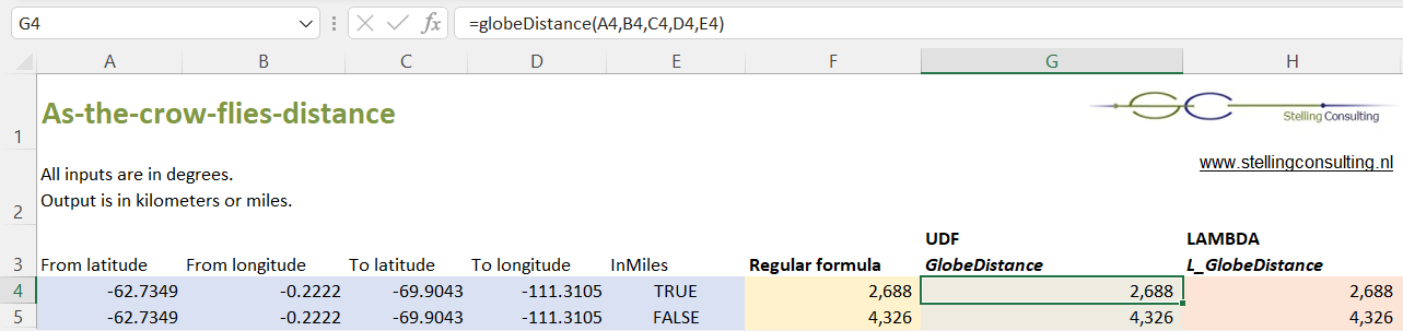 MS Excel VBA - As-the-crow-flies distance